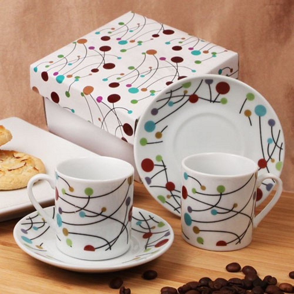 Polka Dot Swirls Espresso Set of 2 Cups and 2 Saucers - 48 Sets