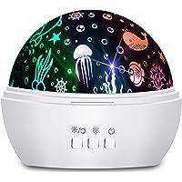 Moredig - Lampara Nocturna Infantil, 2 en 1, Proyector Estrella/Océano 360°, 8 Colores, Lámpara de Noche para Bebé…