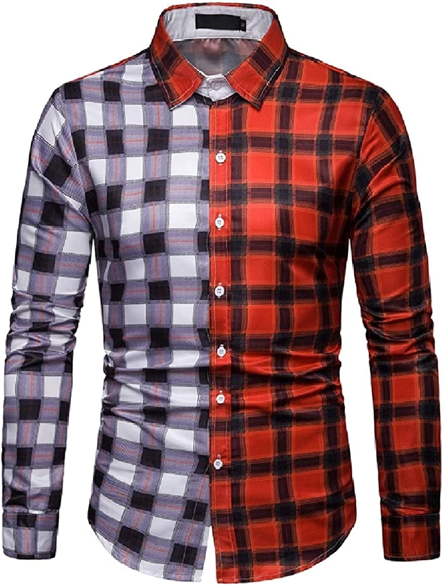 Sayah Mens Contrast Color Business Plaid Oversize Skinny Work Shirt