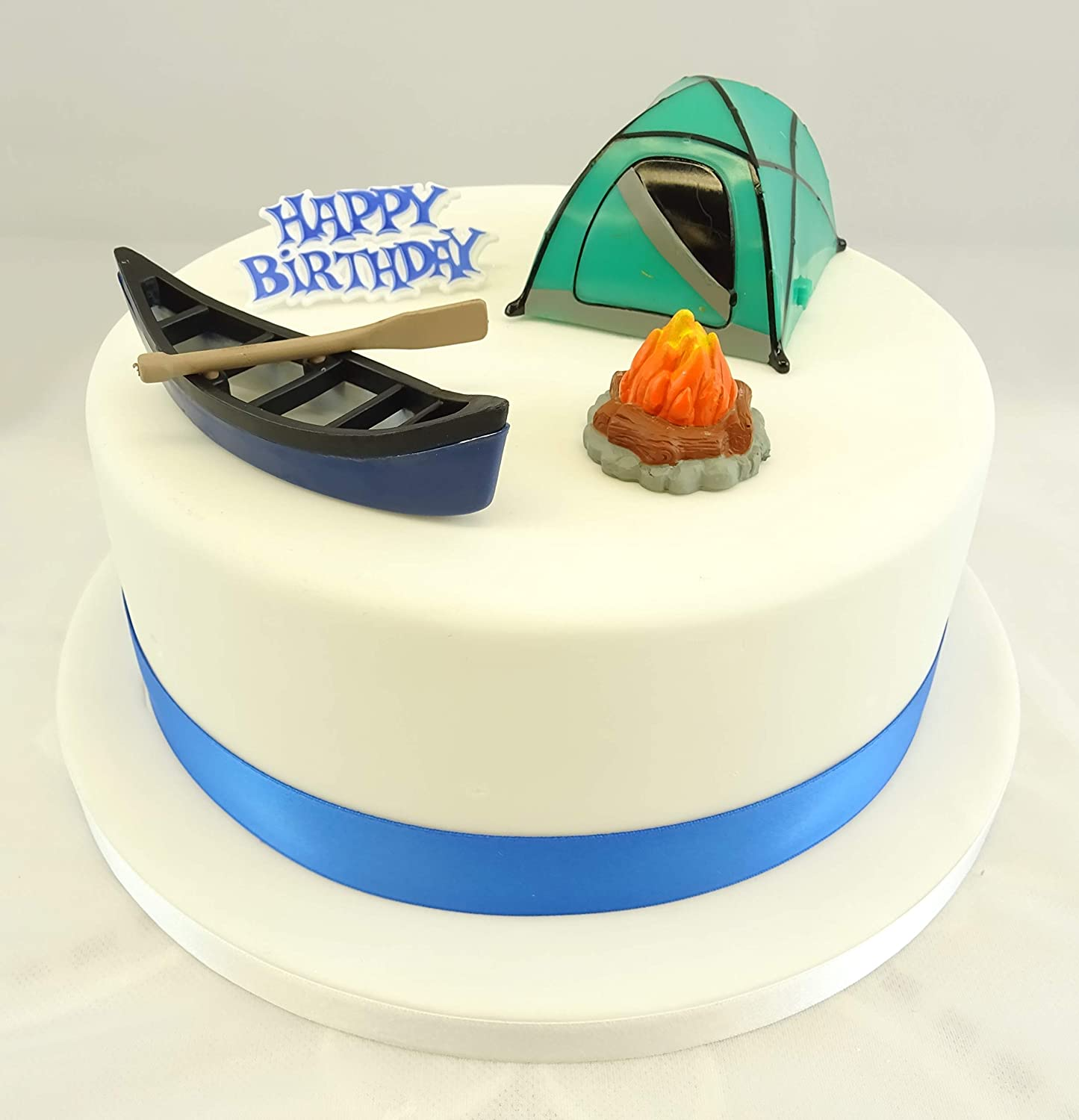 Personalised Camping Camp Fire Edible Icing Birthday Party Cake Topper