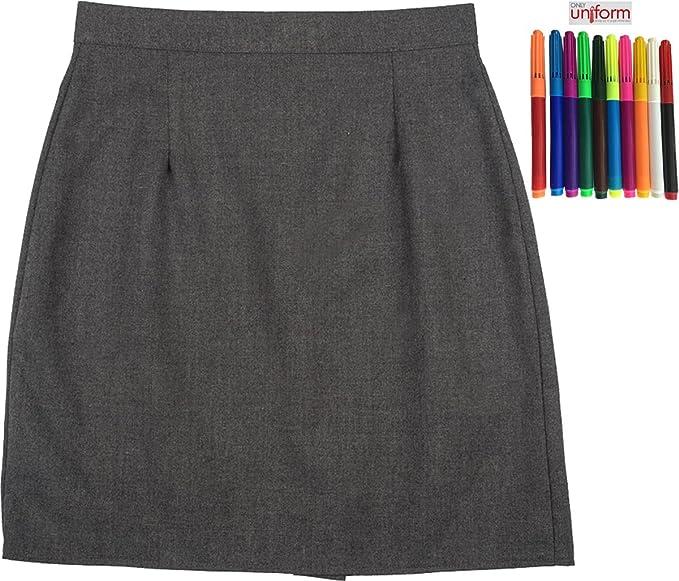 520cdda363 School Uniform Girls/ladies Plain Knee Length Skirt Grey 16: Amazon.co.uk:  Clothing