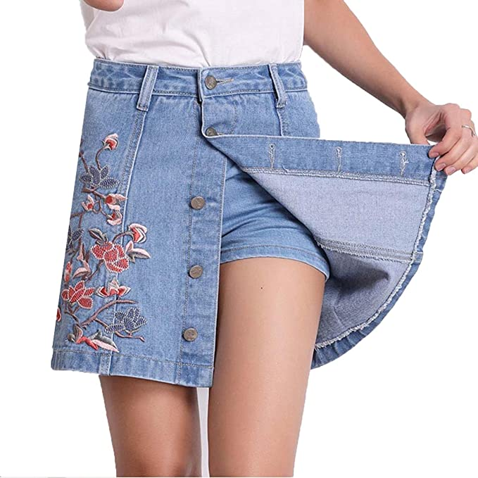 04d09b9a70d Image Unavailable. Image not available for. Color  Alberson Women Summer  Floral Embroidery High Waist Denim Shorts Skirts Plus Size Short Jeans