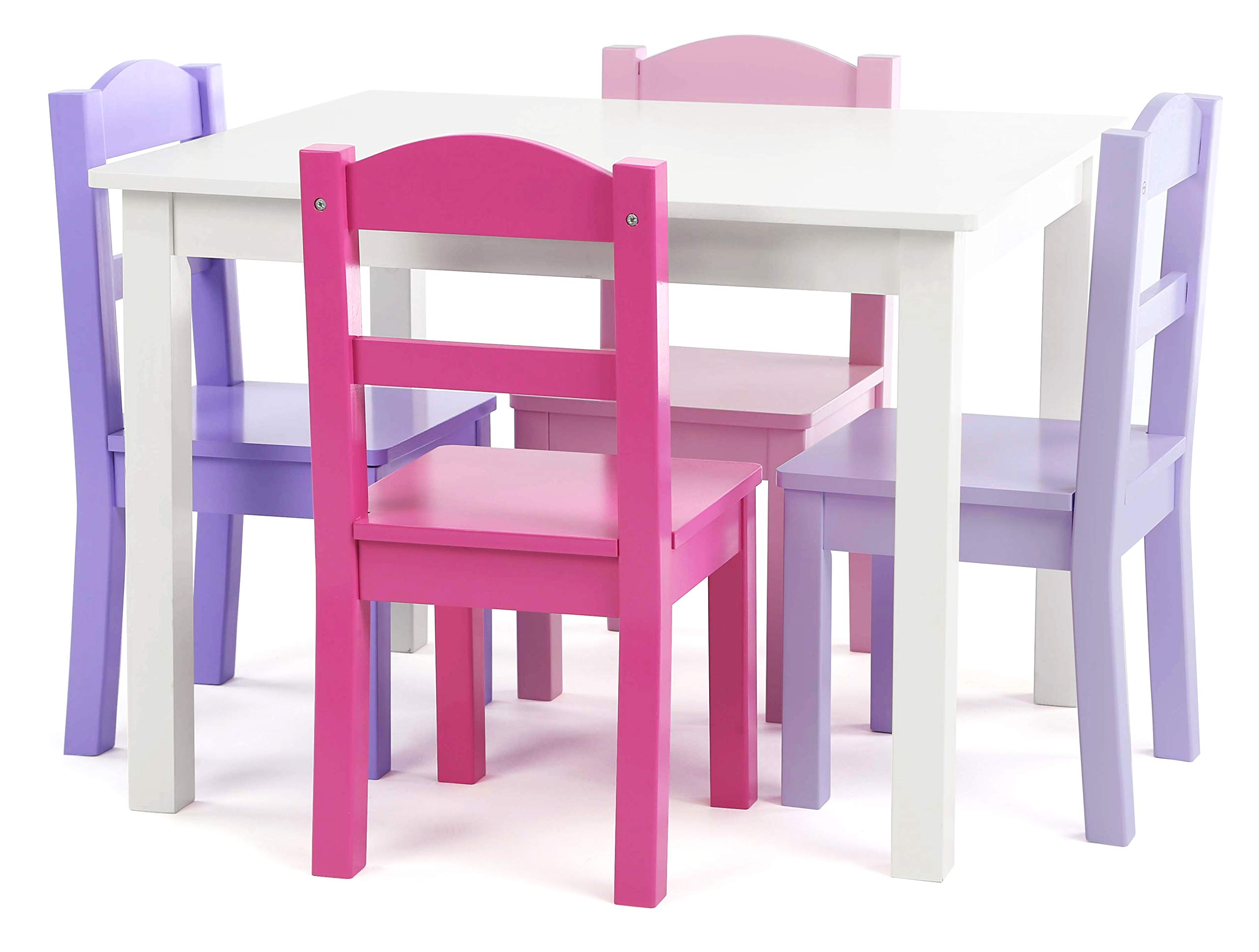 Tot Tutors TC758 Wood Table & 4 Chairs Set-White, Pink, Purple Forever Collection by Tot Tutors
