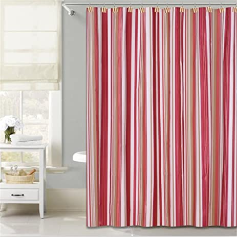Shower Curtain Liner Mildew Resistant72 By 72 InchesRed Stripe Design Water Proof