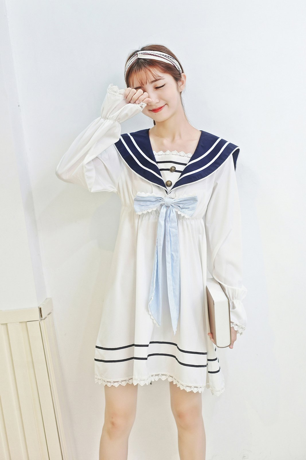Lemail Girls Sailor School Uniform Chiffon Japanese Long Sleeve Pleated Mini Dress Blue 3XL by Lemail wig (Image #3)