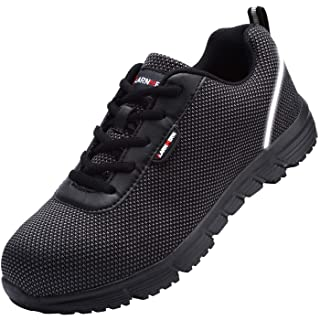 LARNMERN Steel Toe Work Safety Shoes Men Reflective Casual Breathable Outdoor Sneakers, LM30K (14, Pure Black)