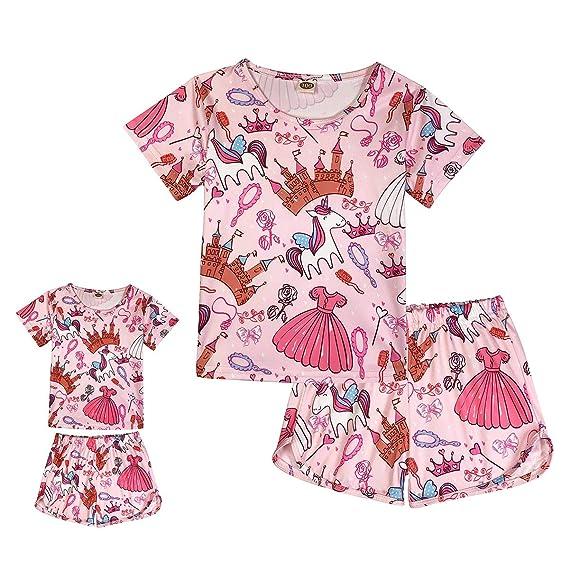 ModaIOO Matching Dolls /& Girls Pajamas Dinosaur Mermaid Unicorn Pyjama Kids Sleepwear Set