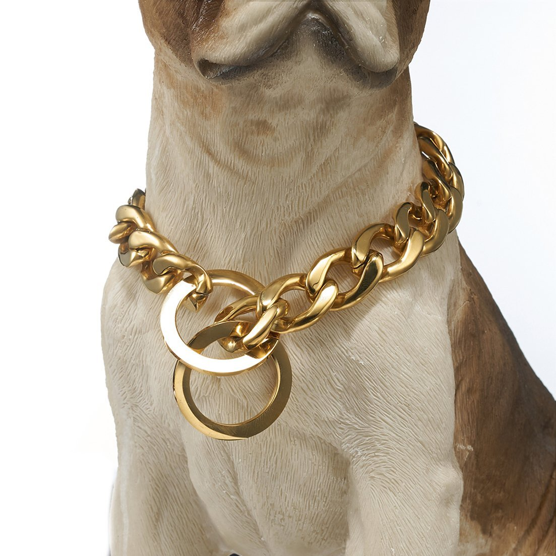 26\ GZMZC 13 15 19mm Strong gold Plated Stainless Steel NK Link Chain Dog Pet Collar Choker Necklace 12-36inch(26inches,15mm)