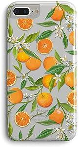 iPhone 7 Plus Case/iPhone 8 Plus Case,Orange Citrus Fruit Pattern Clear Design Printed Transparent Back Case with TPU Bumper Protective Case Cover for Apple iPhone 7/8 Plus