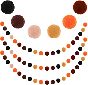 3 Pieces Felt Ball Garland Thanksgiving Pom Pom Garland 1 Inch (2.5 cm) Wool Felt Balls Banner for Fall Autumn Thanksgiving Day Halloween Party Home Decoration, Brown and Orange