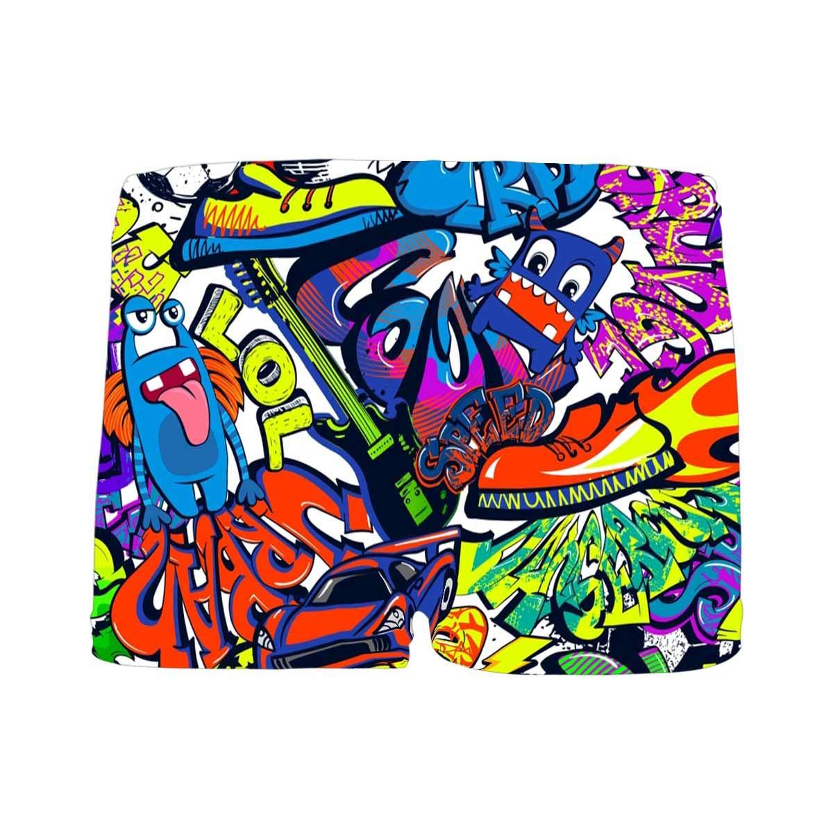 INTERESTPRINT Kids Abstract Grunge Graffiti Pattern ComfortSoft Printed Boxer Briefs 5T-2XL