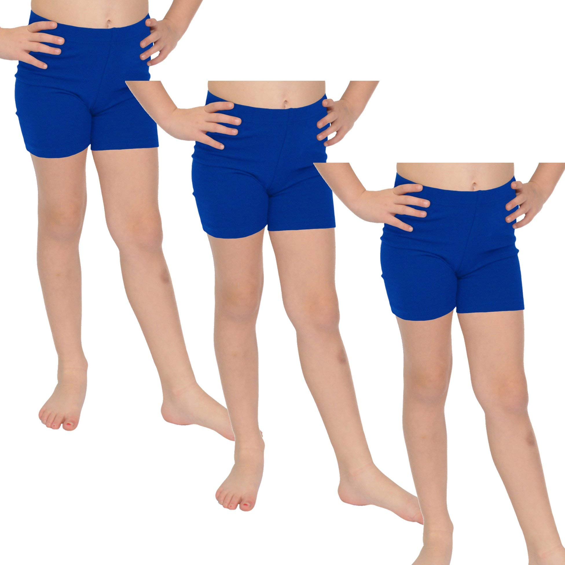 Stretch is Comfort Girl's Cotton Biker Shorts Set of 3 Pieces Royal Blue Medium by Stretch is Comfort