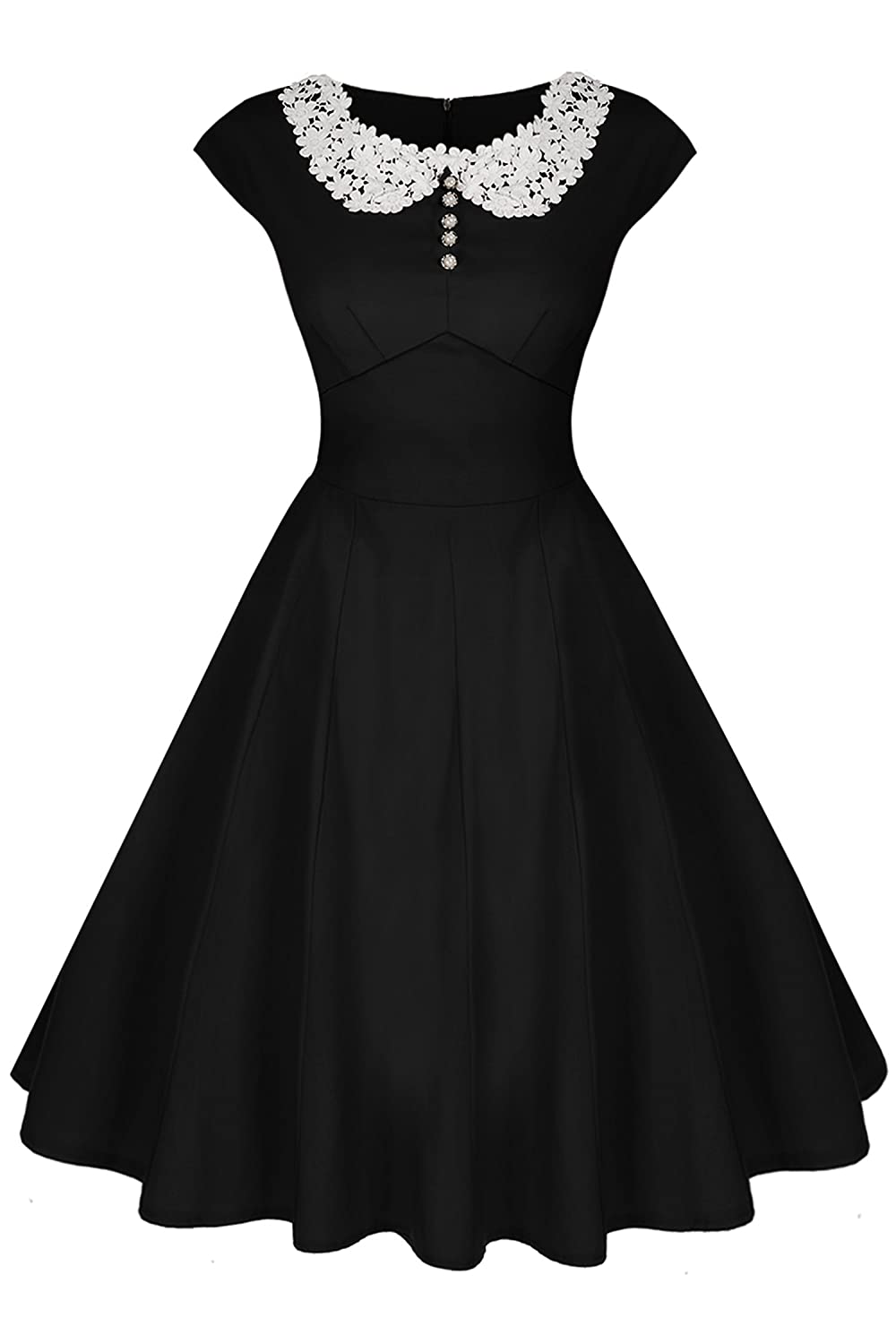 1950s Fashion History: Women's Clothing Audrey Hepburn Style 1940s Rockabilly Evening Dress  AT vintagedancer.com