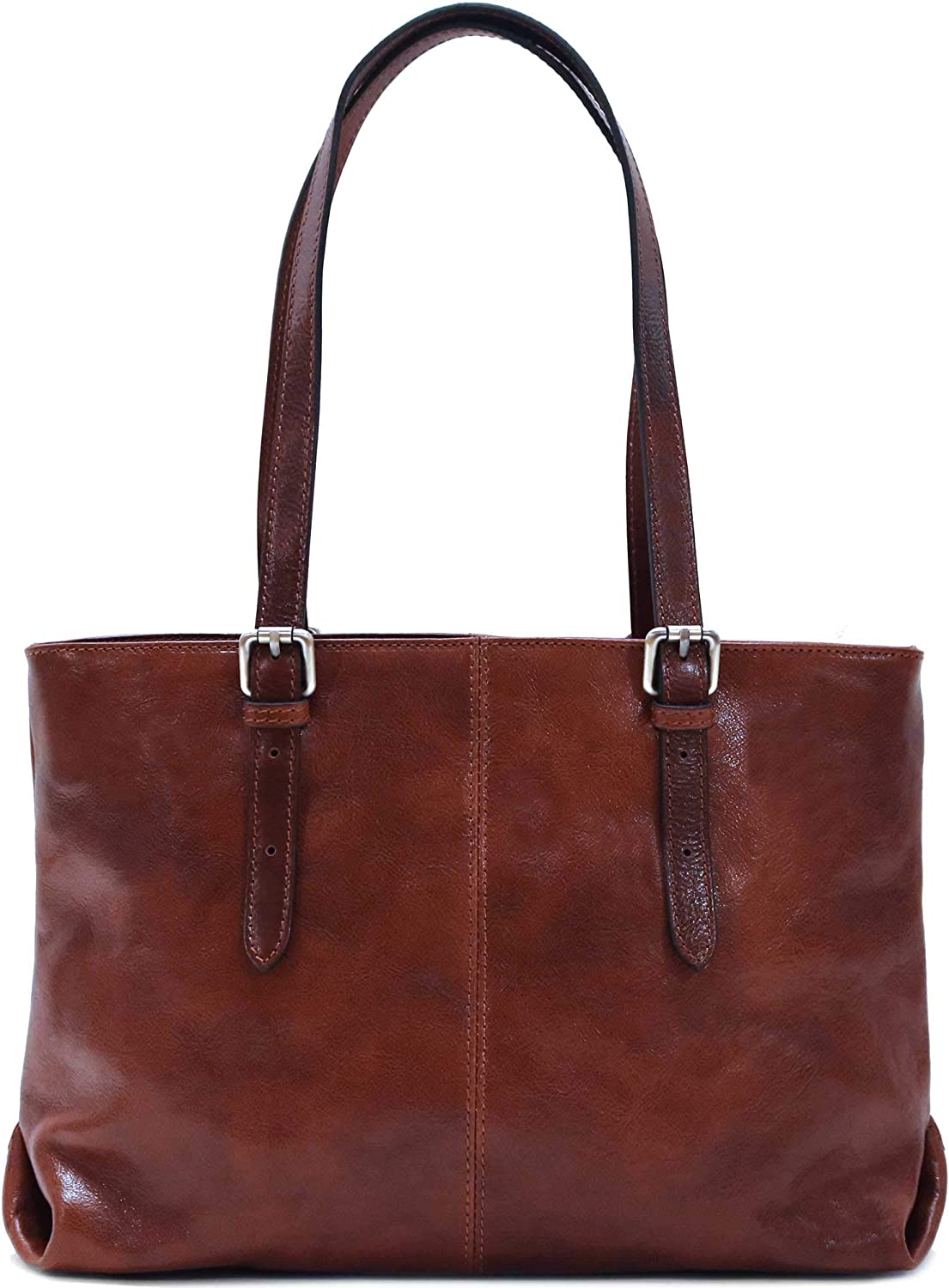 Floto Venezia Italian Leather Shopping Tote Bag Shoulder Bag Women's (Vecchio Brown)