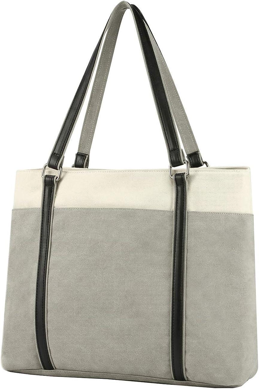 Women Laptop Tote Bag for Work Lightweight Splice Canvas 15.6 Inch Handbag