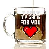 I'd Pause my Game for You 12oz Premium Glass Coffee Mug Set - PC Gamer Gifts for men, Birthday, Joke Gamer, for Kids, Bag, for Girls, for Boys, ps4, xBox, 360, Computer, Teens, Gag Boyfriend