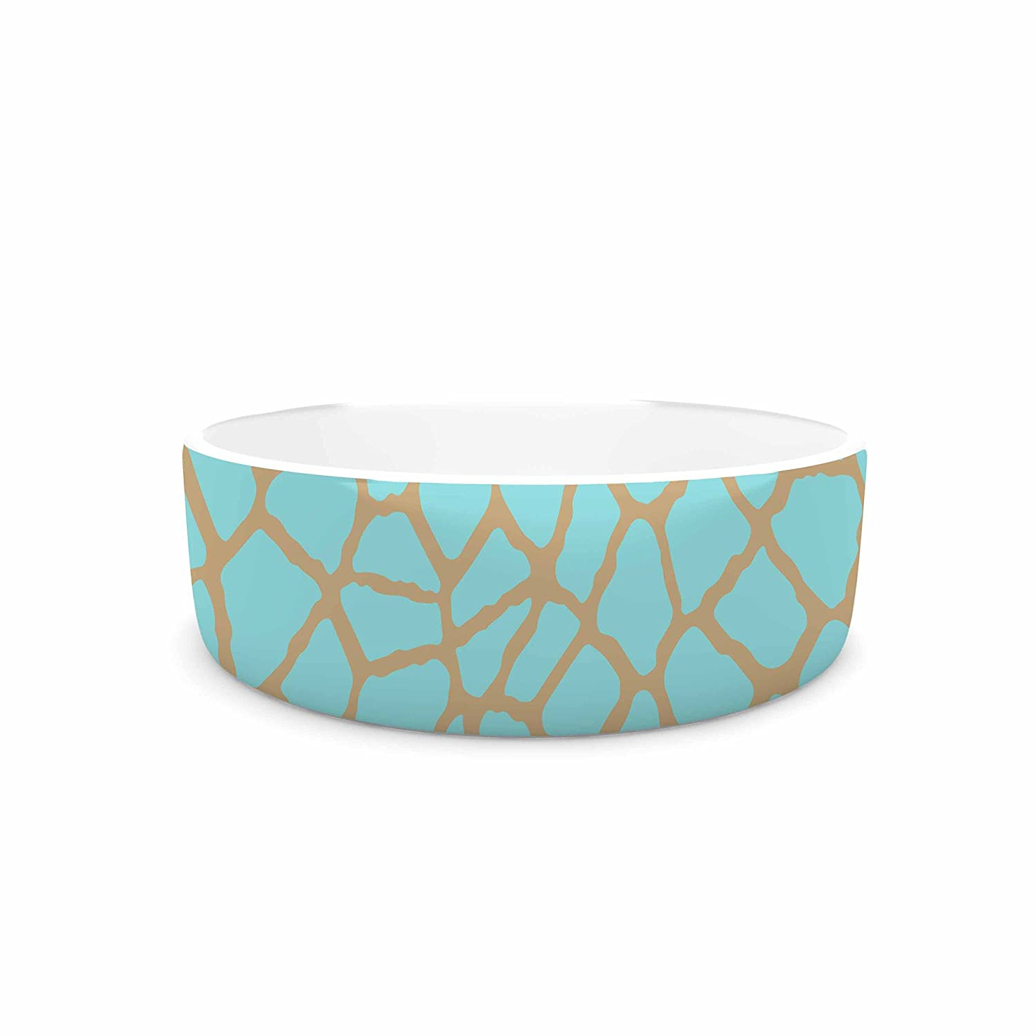 KESS InHouse Trebam Staklo III bluee Brown Pet Bowl, 7  Diameter