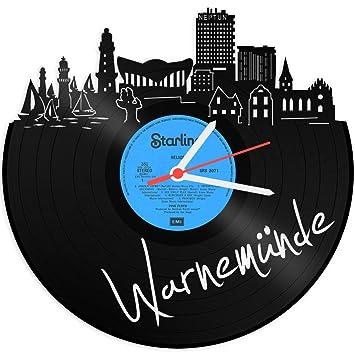 Skyline Warne münde Reloj de pared vinilo Reloj Tocadiscos de vinilo Reloj upcycling Design Reloj de