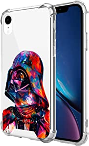 Compatible with iPhone XR Clear Case, Shockproof Slim Fit TPU Cover Protective Phone Case for iPhone XR 6.1 inch (Star-Darth-Vader-Wars)
