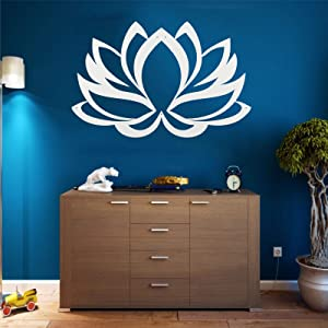 Metal Wall Art, Metal Lotus Flower Art White, Wall Silhouette, Metal Wall Decor, Home Office Decoration Bedroom Living Room Decor, Wall Hangings (30