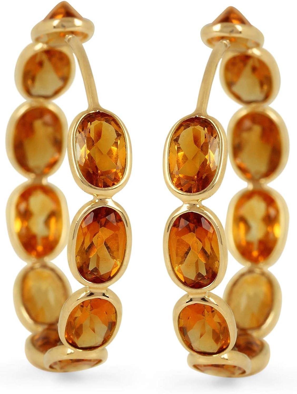 ASHNE JEWELS Pendientes de aro hechos a mano con piedras preciosas de citrino naturales de 8,2 quilates en oro amarillo macizo