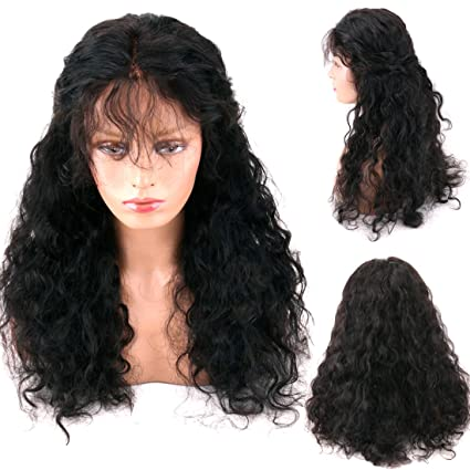 Wellmi Peluca de pelo humano virgen brasileño con encaje frontal, sin pegamento, con pelo