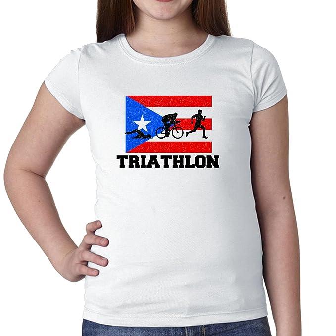 Puerto Rico Bandera de olímpico – triatlón – jóvenes de algodón de chica T-Shirt