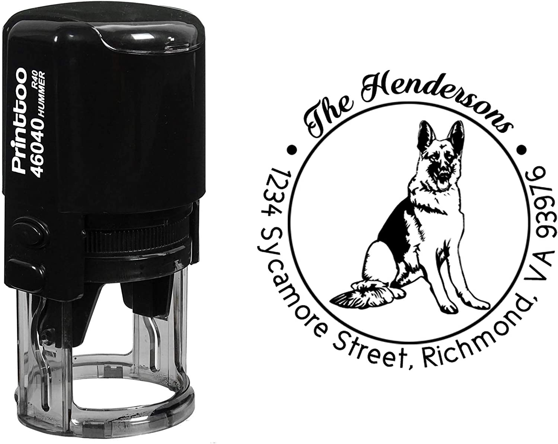 Printtoo Custom Round German Shepherd Dog Address Rubber Stamp Personalized Self Inking Gift Idea-Black