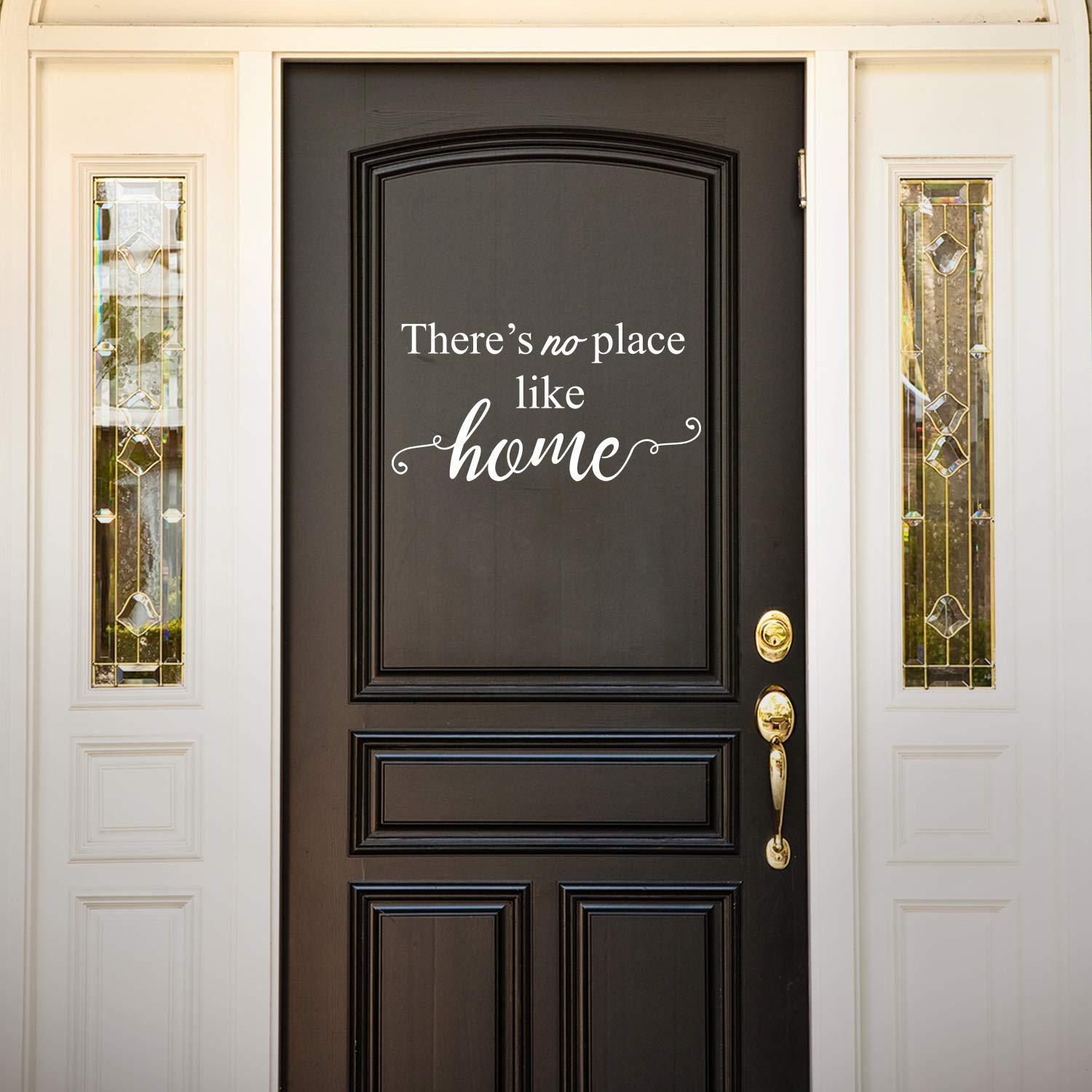 "Vinyl Wall Art Decal - There's No Place Like Home - 11.5"" x 22.5"" - Modern Charming Welcome Door Living Room Apartment Trendy Indoor Outdoor Friendly Household Sign Decor (11.5"" x 22.5"", White)"