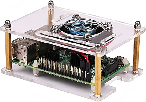 Clear Acrylic Case Shell Enclosure Box Cooling Fan For Raspberry Pi 4B Parts