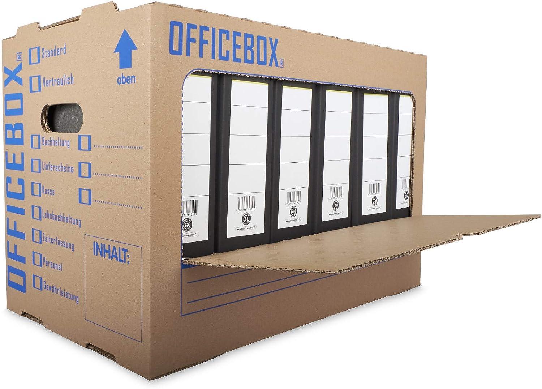 KK Verpackungen/® Ordnerkarton Officebox 5 St/ück Stabile Archivbox mit Sichtfenster f/ür bis zu 6 Ordner Stapelbare Archivkartons mit Ankreuz- /& Beschriftungsfeldern in Braun