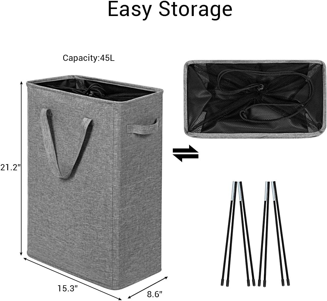 Chrislley 45l Slim Laundry Hamper Small Collapsible Laundry Basket Thin Narrow Laundry Hampers With Handles Dirty Slim Hamper For Laundry Slim 21 Inches Upgrade Grey 2 Home Laundry Storage Organization