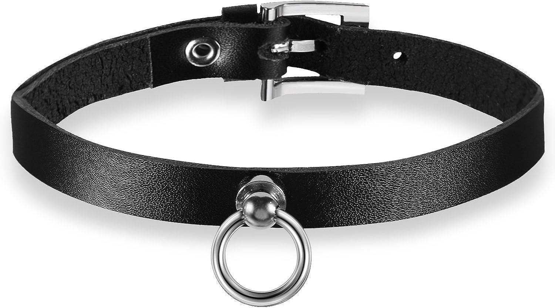 Oidea Collar de piel para mujer, sexy, con puntas, de piel, collar con círculo, colgante ajustable, color negro