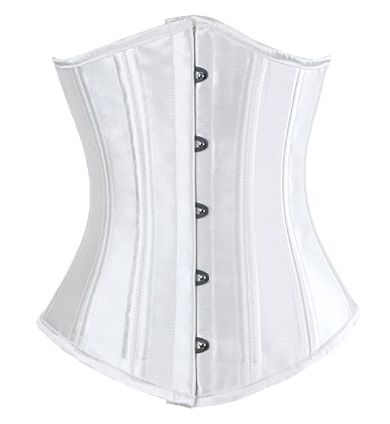 8cd2e3d6924 Charmian Women s 26 Double Steel Boned Underbust Waist Training Cincher  Bridal Corset Top White X-