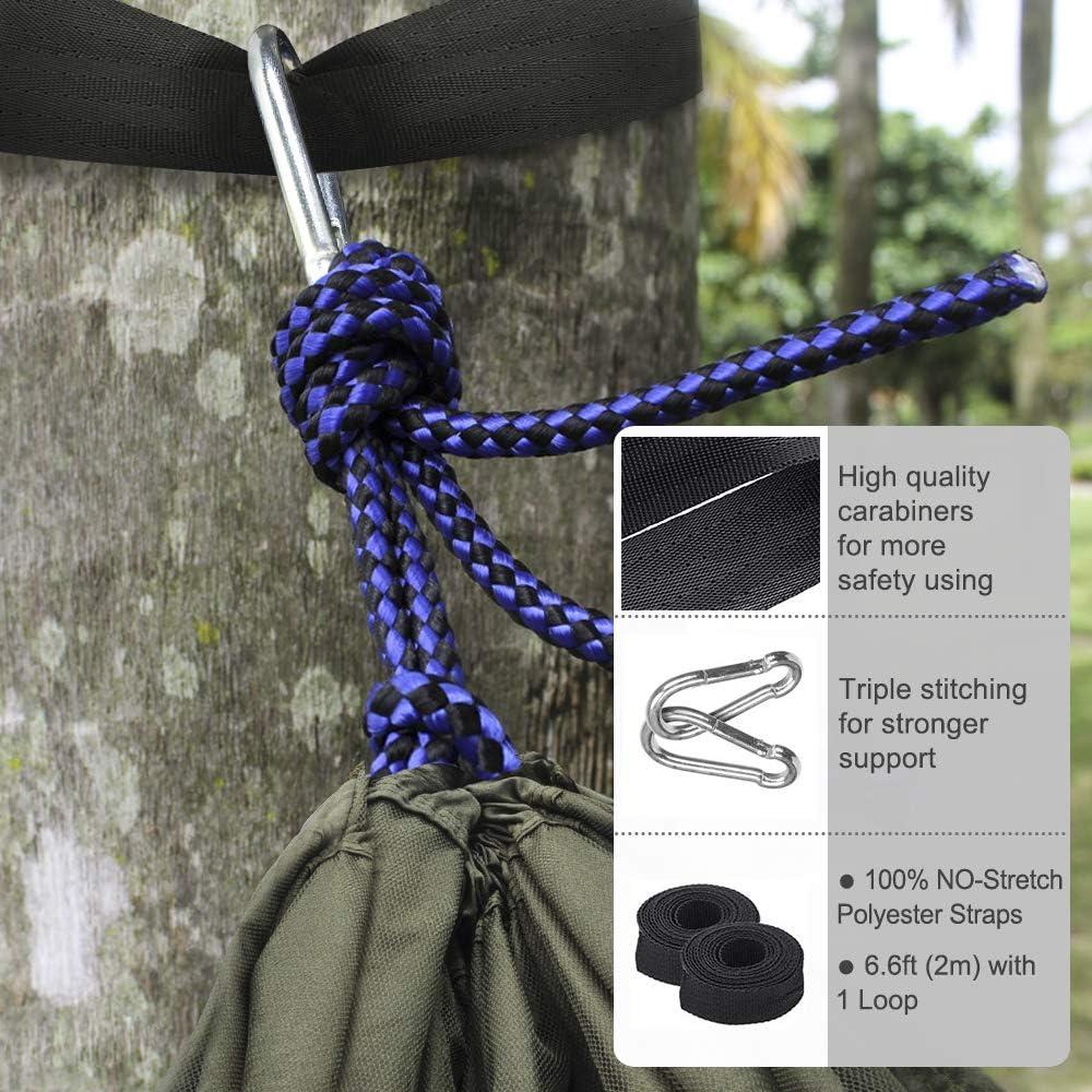 LATTCURE H/ängematte mit Moskitonetz Traggurt und Karabinerhaken aus Fallschirm-Nylon Tragf/ähigkeit bis 300 KG Garten Reise Camping Hammock