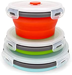 CARTINTS Round Collapsible Bowls with Lids, Reusable Silicone Food Storage Containers, 3Pack 500-800-1200ML, Stackable Space Saving, Microwave and Freezer Safe, Meal Prep Container