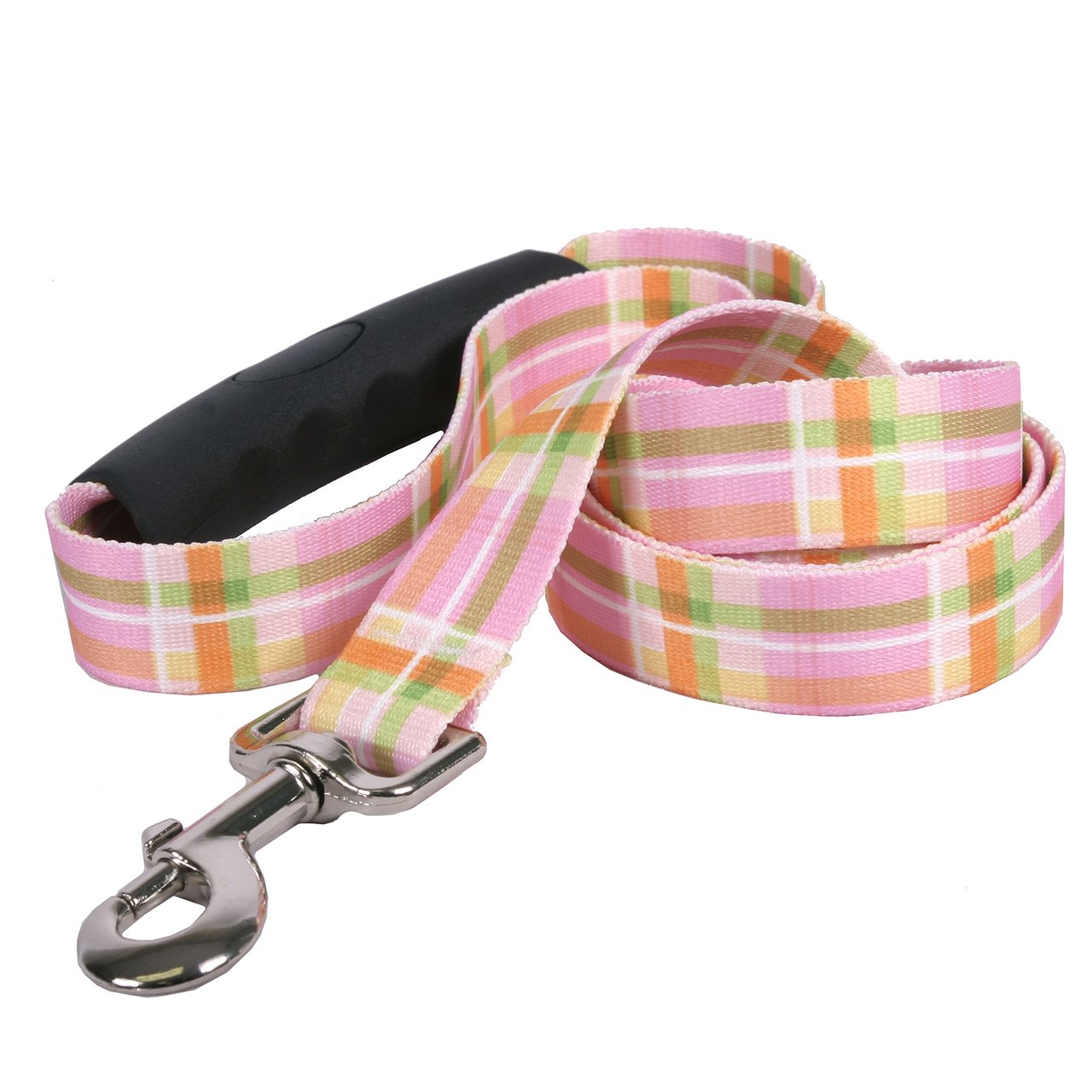 Yellow Dog Design Southern Dawg Madras Pink Premium Dog Leash with Comfort Grip Handle-Large-1'' and 5' (60'') Made in the USA by