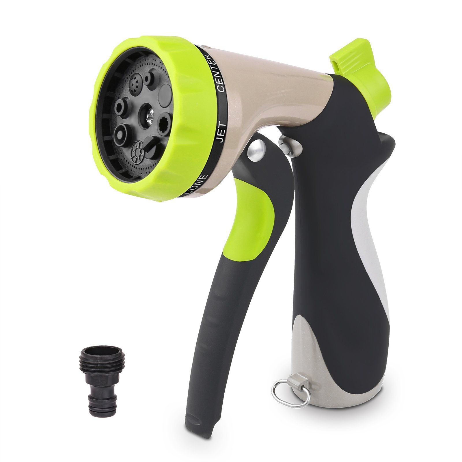 LemonBest Garden Hose Nozzle High Pressure Watering Hand Sprayer with Flow Control for Car Washing Lawn Flowers Gardening Cleaning Pet Washing (Light Green Style)