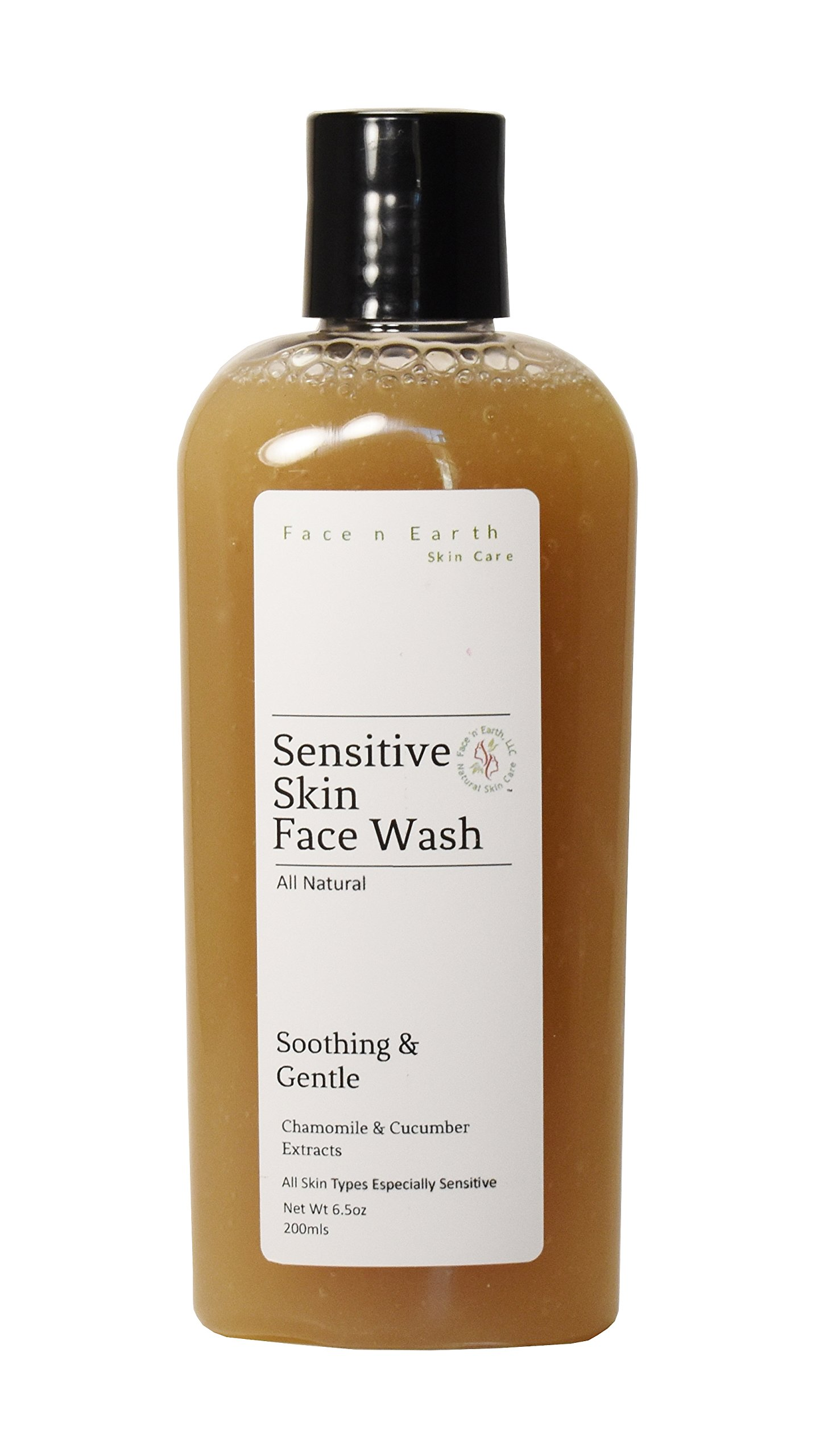 Sensitive Skin Care Cleanser Chamomile & Cucumber - 100% Natural - Vegan Chemical Toxic Free - All Skin Types by Face 'n' Earth, LLC
