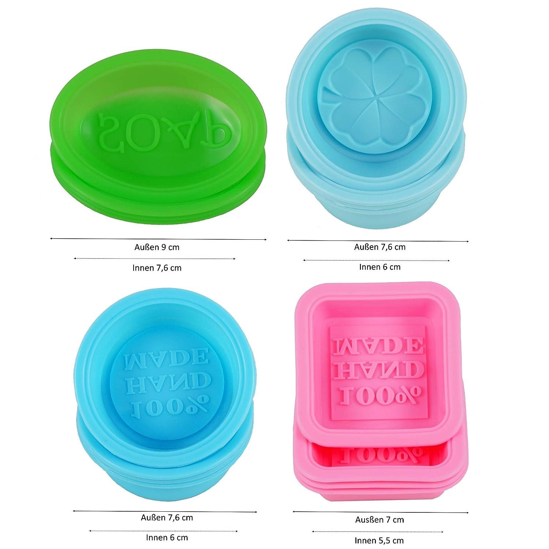 Seifenprofis FBA Forma Quadrata Stampo in Silicone per Sapone Senza Silicone 16 Pezzi Ovale e Rotonda