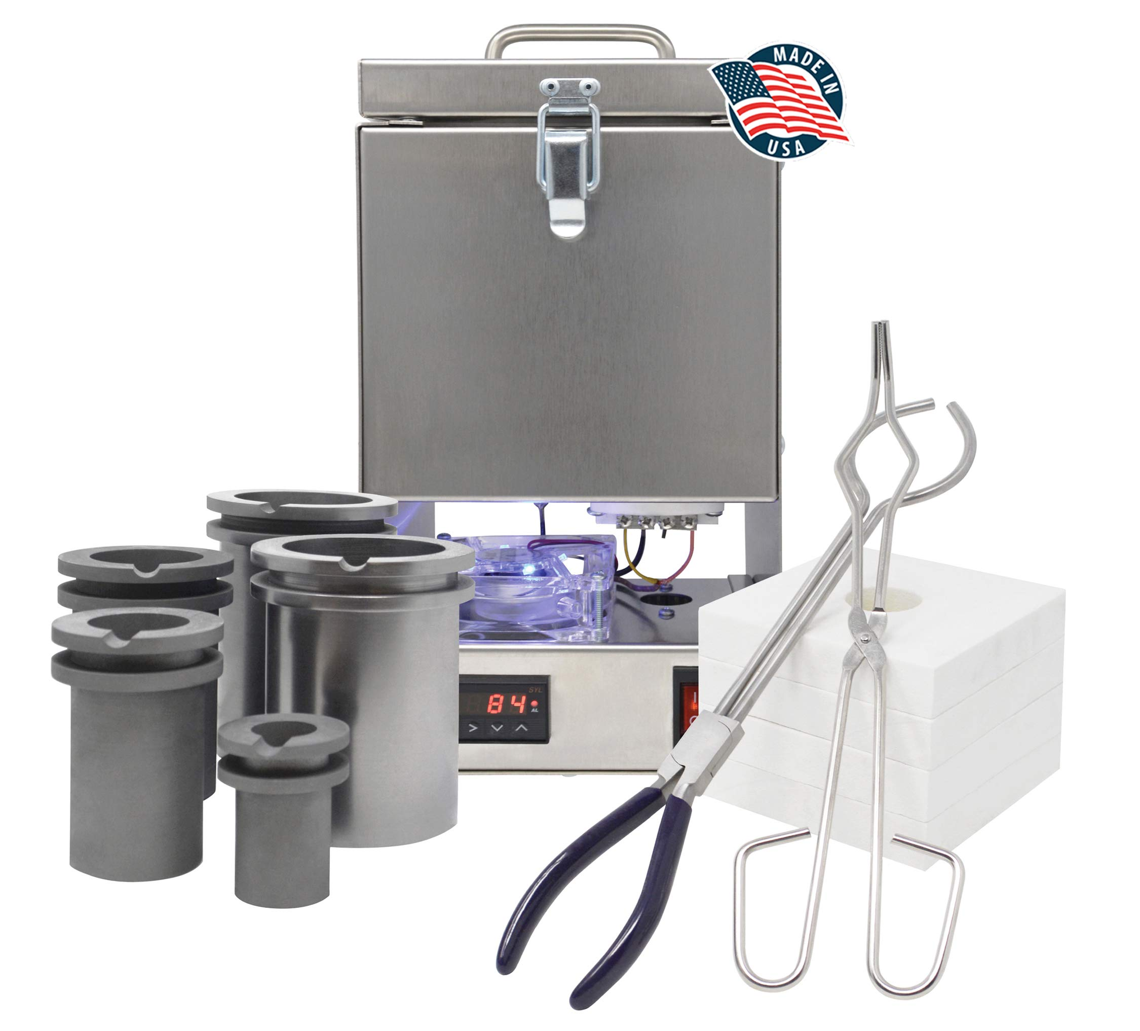 Tabletop Deluxe QuikMelt Top-Loading Electric Furnace Crucibles Tongs Flanges Metal Jewelry Casting Melting Kiln Made in The U.S.A.