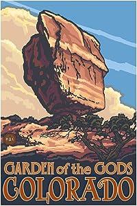 """Balanced Rock Garden of The Gods Colorado Giclee Art Print Poster from Original Travel Artwork by Artist Paul A. Lanquist 12"""" x 18"""""""