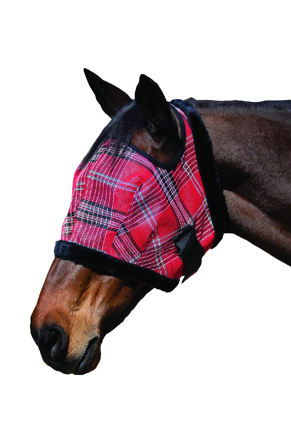 Kensington Fly Mask Fleece Trim for Horses - Protects Face, Eyes from Flies, UV Rays While Allowing Full Visibility - Breathable Non Heat Transferring, Perfect Year Round, (B, Deluxe Red) by Kensington Protective Products