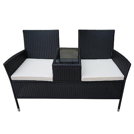 Froadp Conjuntos de Muebles de jardín en ratán Negro con Conjuntos de Muebles de jardín Incl. Banco con Mesa y cojín Blanco (Tipo B).