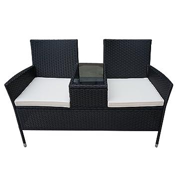 Schon HENGMEI Gartengarnitur Polyrattan Gartenmöbel Set Lounge Sitzgarnitur  Gartensofa Gartengarnitur (Schwarz, Type F Mit Weiß