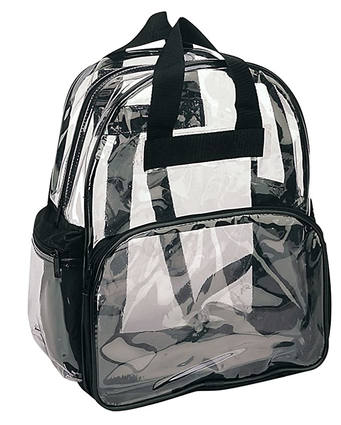 NuFazes Clear Backpack in Multiple Colors- PVC See Through Daypack Clear Backpacks- in Small 12 x 14 x 6 in Clear