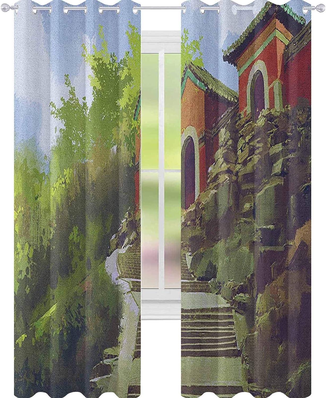 YUAZHOQI Antigua China Cortina opaca aislada térmica, pintura de acuarela paisaje de la antigua casa en una colina con cortinas de piedra para sala de estar, 132 x 274 cm, multicolor