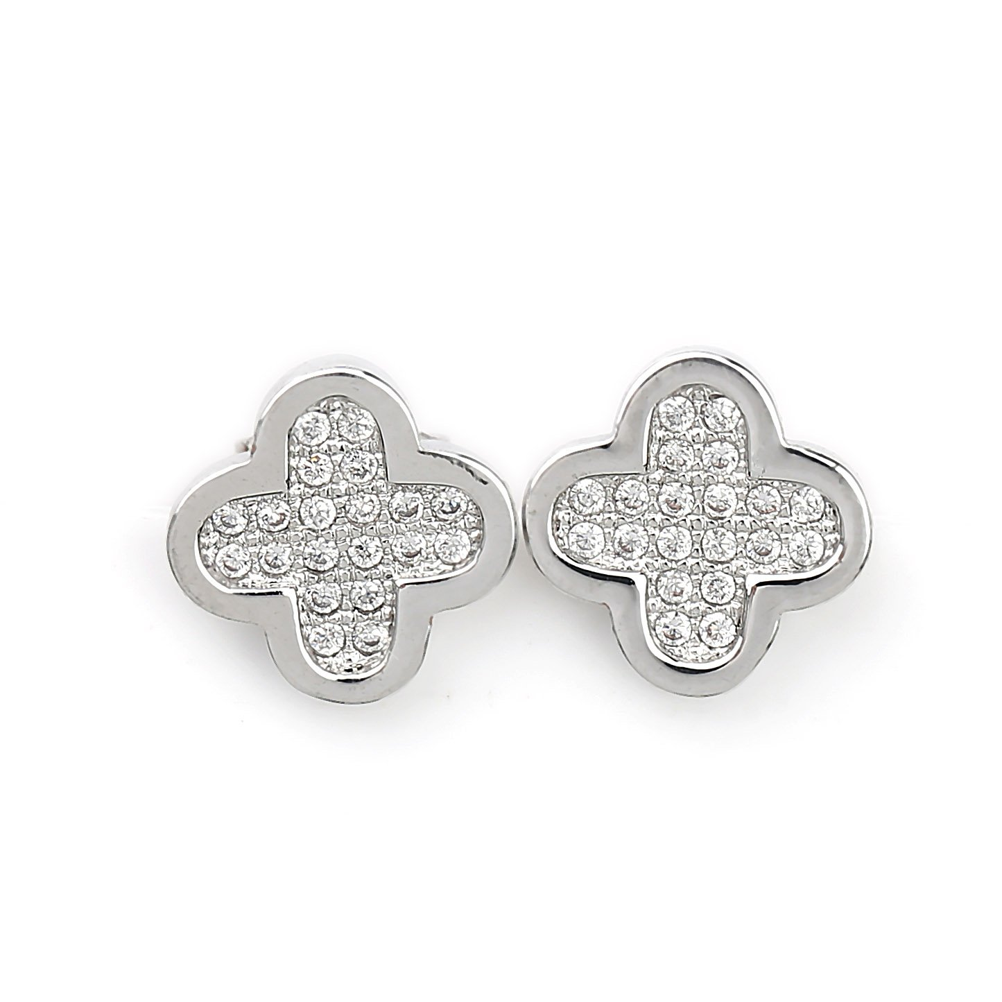 Delicate Silver (White Gold) Tone Designer Clover Earrings with Embedded Swarovski Style Crystals (Silver Clover 2)