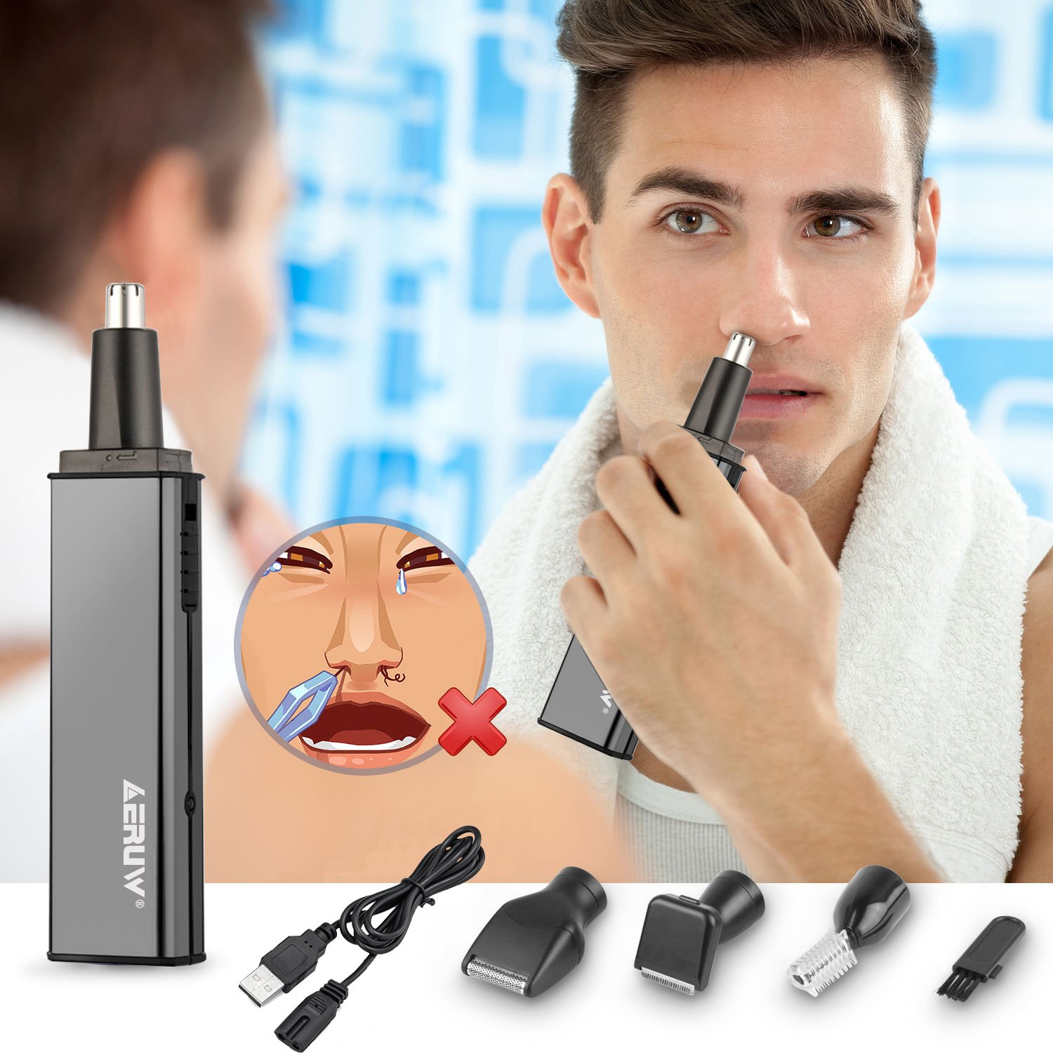 Nose Hair Trimmer, 4 in 1 USB Rechargeable Waterproof Nose Ear Hair Trimmer/ Beard Trimmer/ Sideburns Trimmer/ Eyebrow Trimmer for Grooming Cleaning Stainless Steel Rotation Blades Facial Beauty Tools
