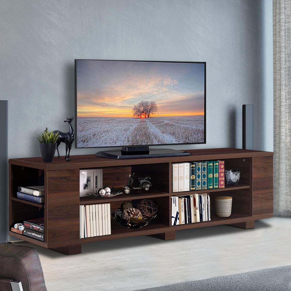 Amazon com tangkula tv stand modern wood storage console entertainment center for tv up to 59 home living room furniture with 8 open storage shelves
